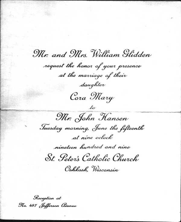 Documents on GLIDDEN Family – Funeral Reception Invitation