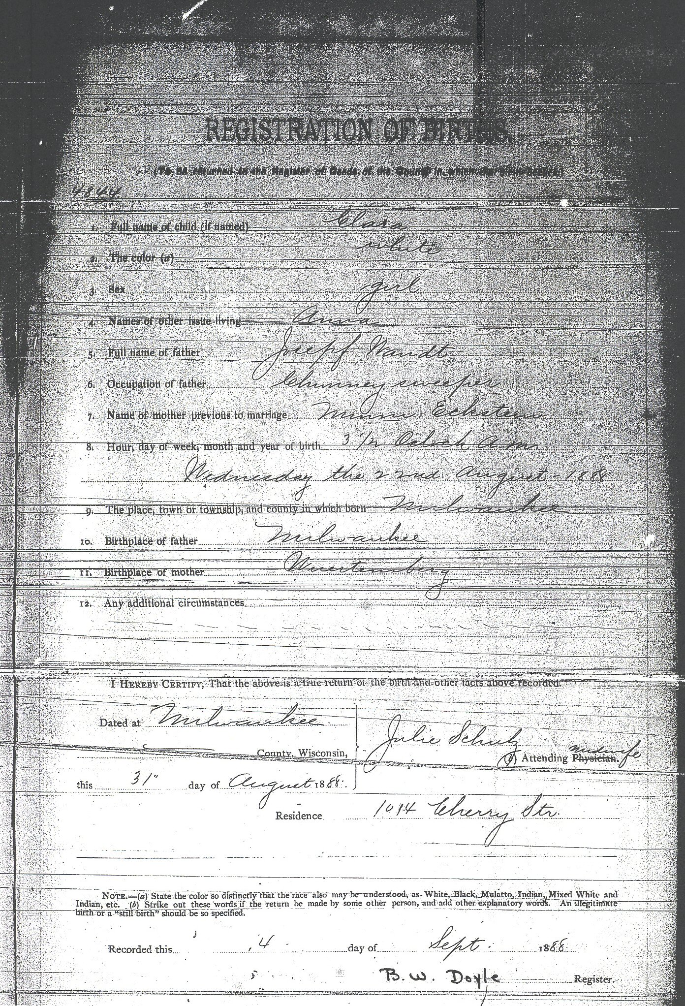 Birth records for wandt genealogy 1889 birth record of george wandt aiddatafo Image collections