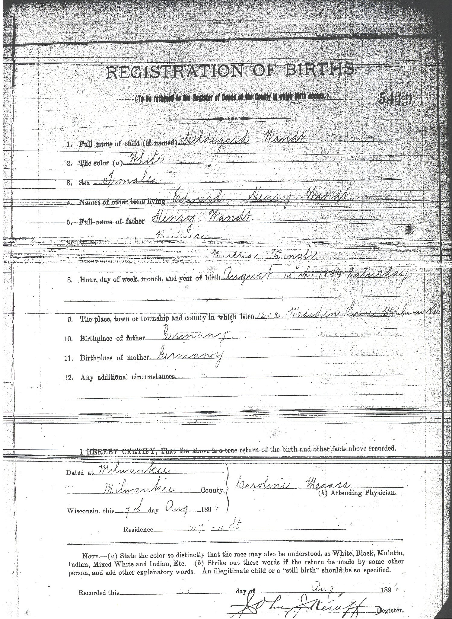 Birth records for wandt genealogy 1896 birth aiddatafo Image collections